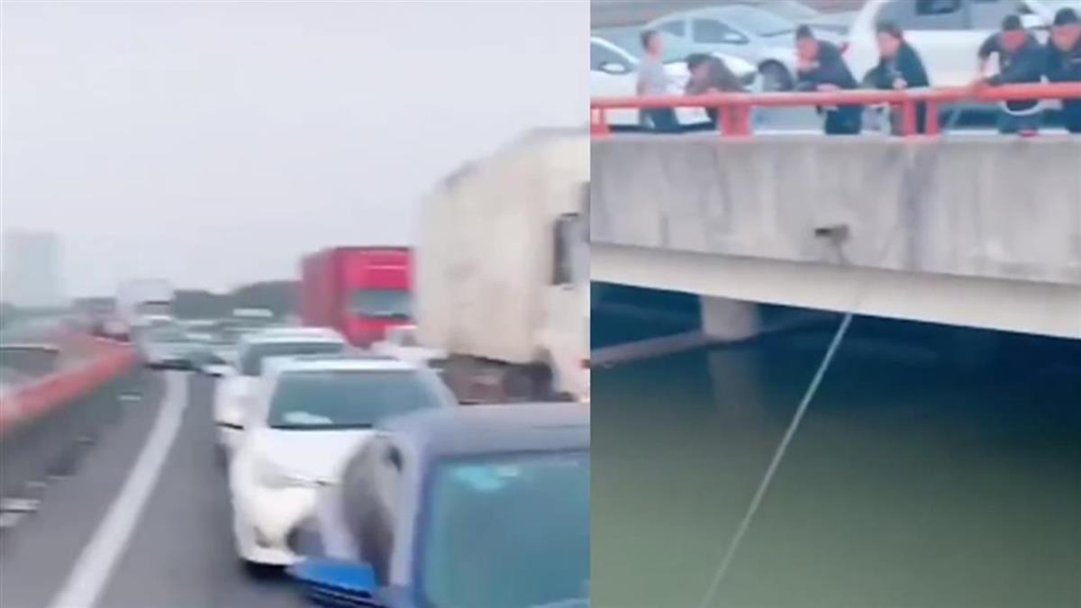 中秋大塞車!駕駛一夜仍在原地超悶 下秒橋上釣魚