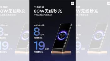 8 分鐘就能為 4,000mAh 電池充電 50%,小米宣布推出 80W 無線秒充技術